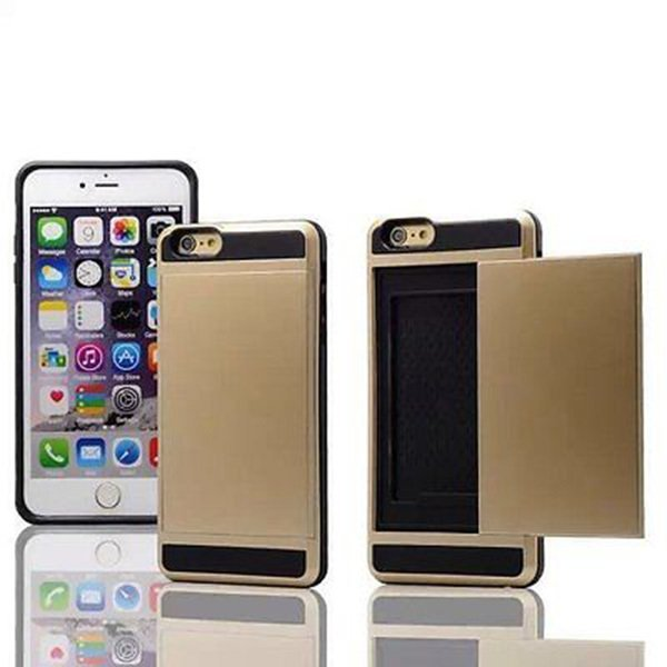 Hard Armor Case Cover with Slide Card Slot Holderf for iPhone 6 4.7 Inch Gold