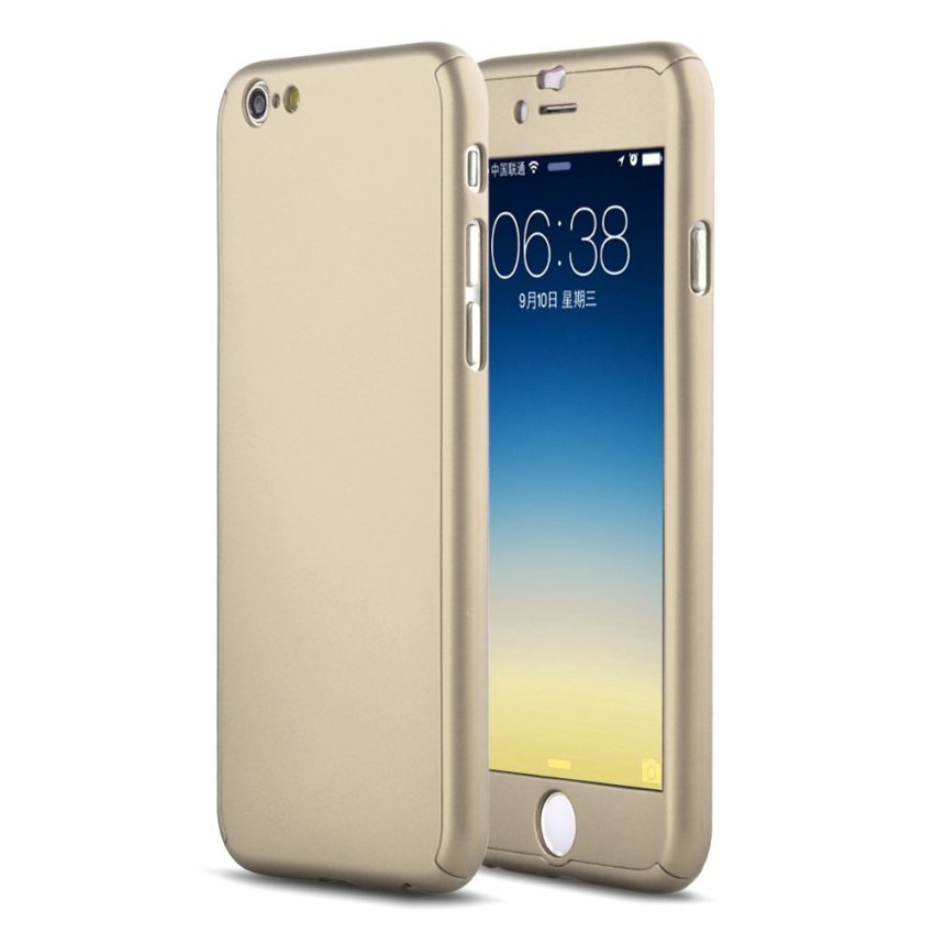 Hard Case Full Body with Tempered Glass for iPhone 6 Plus 5.5 Gold (Intl)