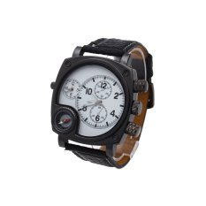 HDL Army Military Dual Time Leather Sports Quartz Wrist Watch Men Black - Intl