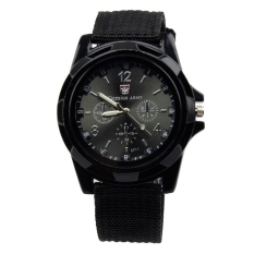 HDL Fashion Sail Cloth Strap Distinctive Sporting Quartz Wrist Watches (Black) - Intl