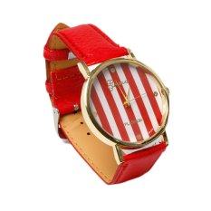 HDL Geneva Faux Leather Strap Quartz Wrist Watch Red (Intl)