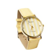 HDL Geneva Faux Leather Strap Quartz Wrist Watch Yellow (Intl)