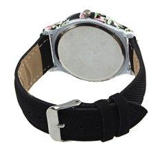 HDL Luxury Woman Leather Strap Flower Cloth Analog Quartz Wrist Watch Black (Intl)
