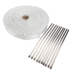 "HDL White 33ft 1"" Wide Fiberglass Exhaust Pipe Header Wrap Tape Kit W / 10 SS Ties - Intl"