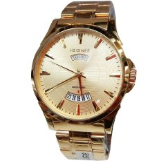 Hegner 1251 - Jam Tangan Pria Formal - Glamour Fashion - Date Day - Stainless Gold - Inner Gold