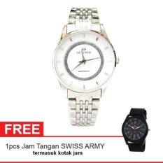 Hegner Lady Watch Jam Tangan Wanita - Silver - Strap Stainless Steel - 1222LSSWH + Gratis Jam Tangan Swiss Army (One Size)