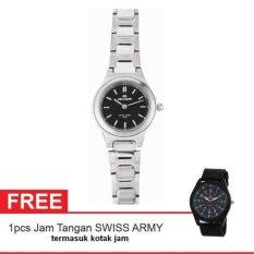 Hegner Lady Watch Jam Tangan Wanita - Silver - Strap Stainless Steel - Petite Model SSBL + Gratis Jam Tangan Swiss Army (One Size)