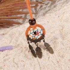 HKS Dreamcatcher Feather Charm Pendant Hand Tied Necklace Orange (Intl)