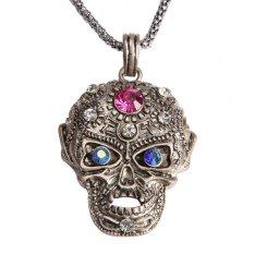 HKS Girl Boy Cool Skull Pendant Necklace Glittering Rhinestone Antique Silver - Intl