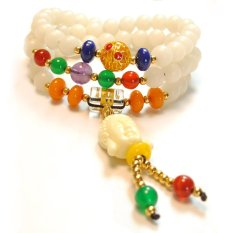 HKS Natural White Jade Buddha Buddha Head Bracelet Agate Beads Male And Female Lap Rosary Bracelets Jewelry National Wind