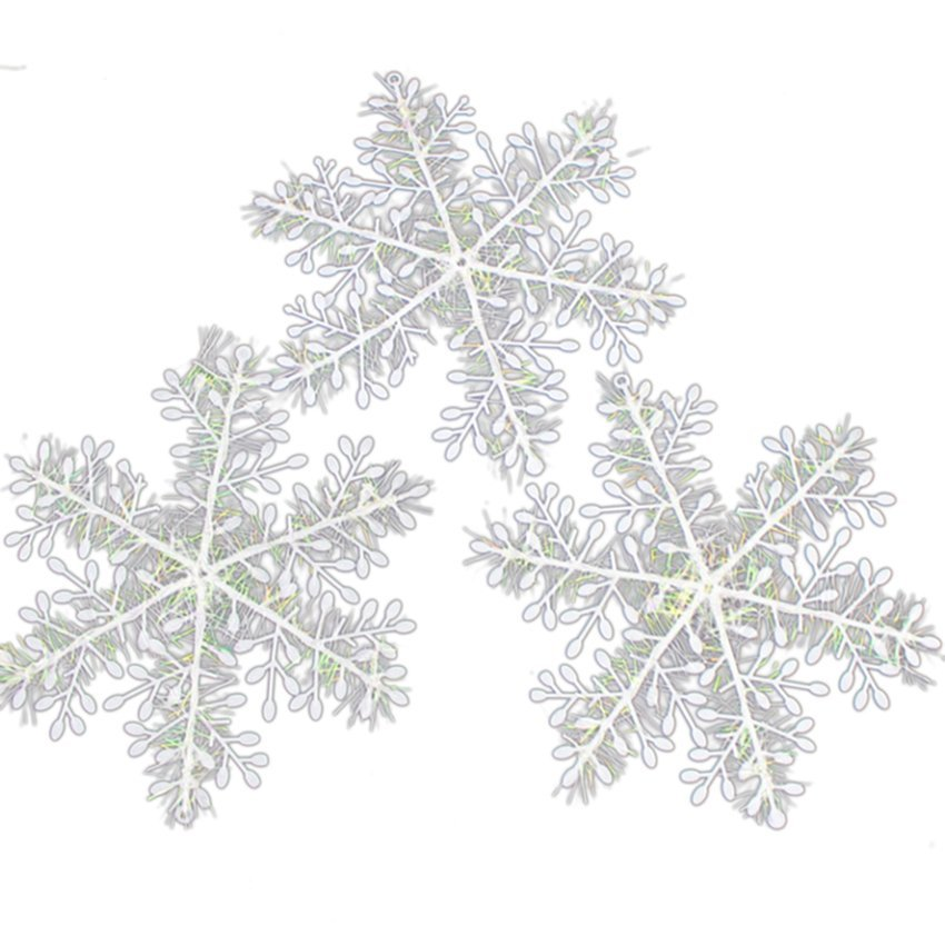 HKS White Snowflake Ornaments Christmas Tree 15pcs (Intl)