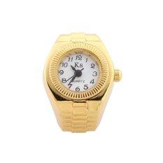 HKS Women Gold Tone Ring Finger Watch