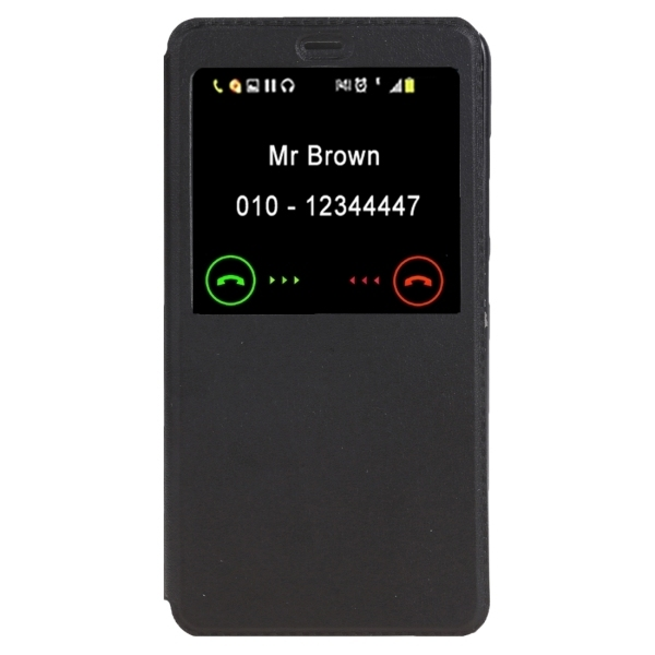 Horizontal Flip Solid Color Leather Cover with Call Display ID & Holder for Xiaomi Redmi Note 3 (Black) (Intl)