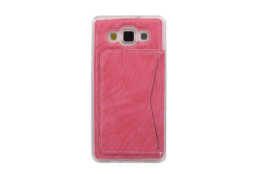 Hot Pink Soft TPU Back Case Cover Protective Shell with Card Holder Samsung Galaxy A5 Case (Intl)