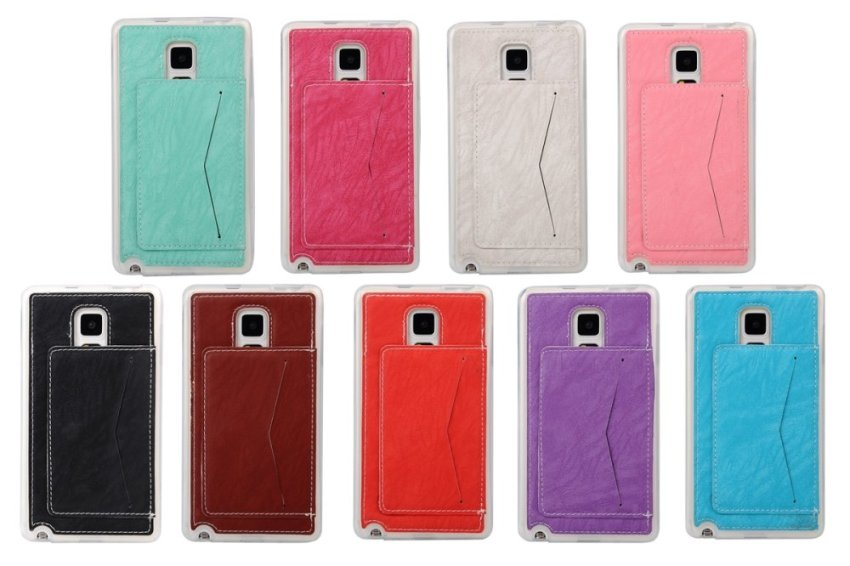 Hot Pink Soft TPU Back Case Cover Protective Shell with Card Holder Samsung Galaxy Note Edge N9150 Case (Intl)