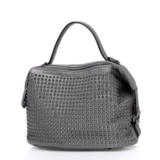 Hot Sale 2016 New Fashion Rivet Women Handbags Bucket Genuine Leather Bag Woman Leather Handbags Women Shoulder Bag Casual Tote (Gray)