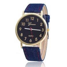 Hot Selling Geneva Fashion Women Fabric Watch Casual Quartz Wristwatches (Blue)