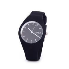 Hot Selling Jelly Silicone Geneva Watch Relogio Feminino Fashion Women Wristwatch Casual Luxury Watches (Black)