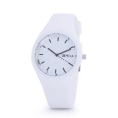 Hot Selling Jelly Silicone Geneva Watch Relogio Feminino Fashion Women Wristwatch Casual Luxury Watches (White)