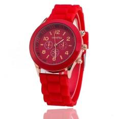 Hot Selling Silicone Geneva Watch Casual Quartz Women Wristwatch (Red)