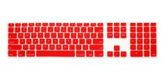 HRH Full Size Keyboard Cover Skin Protector For Apple Keyboard With Numeric Keypad Wired USB For IMac G6 Desktop PC Wired Keyboard (Red) - Intl