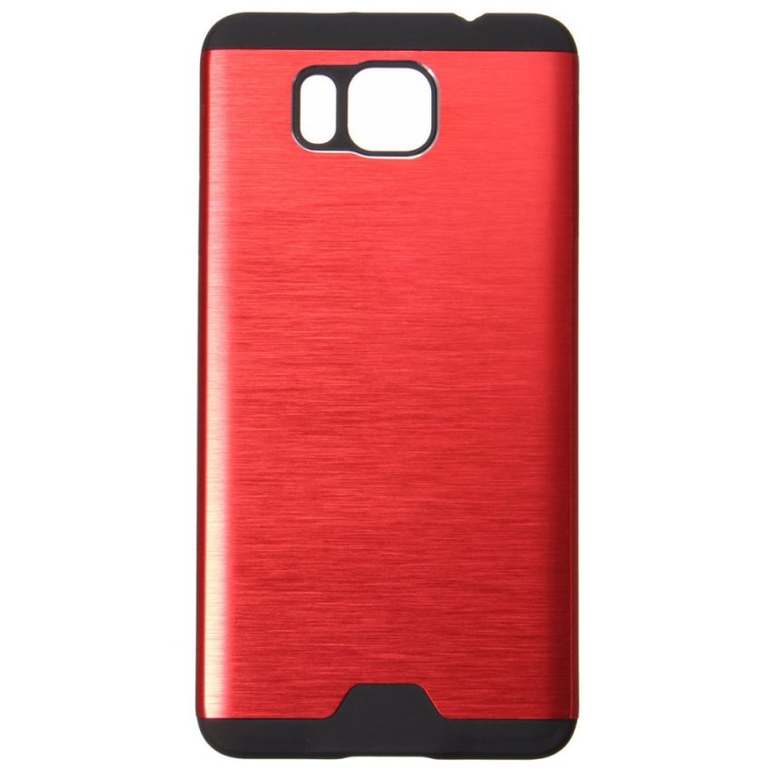 Hybrid Brushed Metal Aluminum TPU Hard Cover Case for Samsung Galaxy Alpha G850 (Red) (Intl)