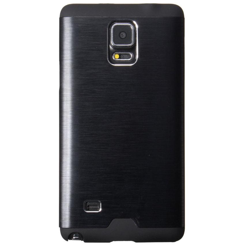 Hybrid Metal Silicone Hard Case for Samsung Galaxy Note 4 N9100 (Black) (Intl)