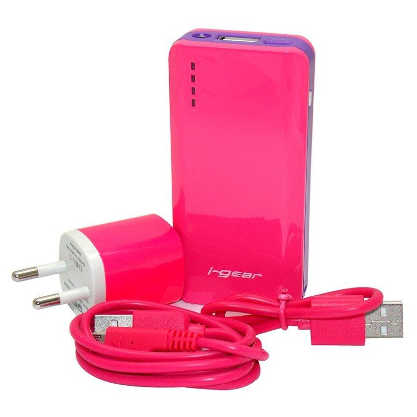 I-Gear Original Power Bank 6000 mAh Output Charger 1.5A - Merah Muda
