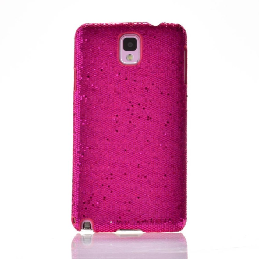 I3C Luxury Sparkles Bling Glitter Hard Plastic PC Back Case Skin Cover for Samsung Galaxy Note 3 N9000 Rose Red