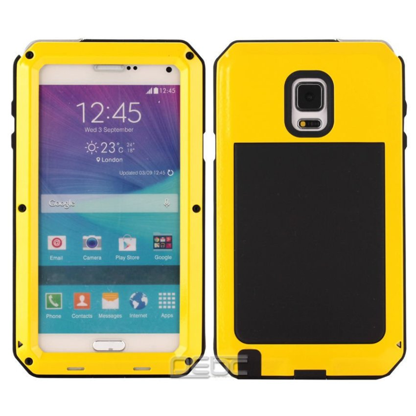 I3C Water/Shockproof Aluminum Gorilla Glass Metal Case Cover for Samsung Galaxy Note 3 Yellow