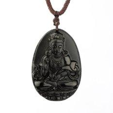 Ice Obsidian Avalokitesvara Kwan-yin Frosted Pendant Necklace Rainbow Eye Effect Grounding Stone Protection Amulet Buddha