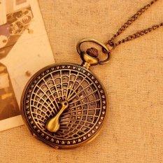 ILife Store Big Peacock Pattern 2015 Retro Vintage Pocket Watch Women Necklace Quartz Alloy Pendant With Long Chain (Color: Bronze)