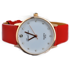 Imitation Diamond Setting Golden Case Watch Ladies' Wrist Quartz Watches Dress Watch (Red) - Intl