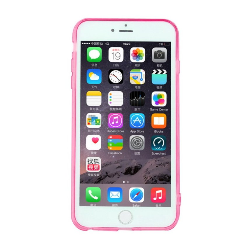Incoming Call LED Flashing Light Up Case Cover Skin For iPhone 6 Plus 5.5inch Pink