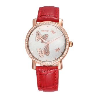 Iooilyu WEIQIN Fashion Rhinestone Women Luxury Quartz Watch Watches Butterfly Dial PU Leather Strap Rose Gold Case Dress Wristwatches (Red)