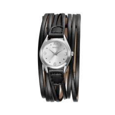 Iooilyu WEIQIN Fashion Women Bracelet Personality Black Brown PU Leather Strap 3ATM Quartz Wristwatch Casual Girl Dress Watches Gift (Black White)