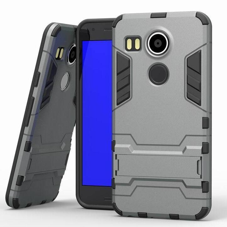 Iron Man Hard Armor Case With Stand Holder LG Nexus 5X Angler H79 Google Nexus 8 Back Cover for LG Google Nexus 5x 5.2'' inch (Grey) (Intl)