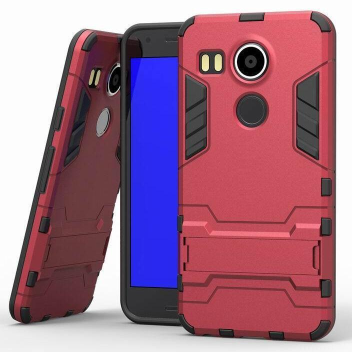 Iron Man Hard Armor Case With Stand Holder LG Nexus 5X Angler H79 Google Nexus 8 Back Cover for LG Google Nexus 5x 5.2'' inch(Red) (Intl)