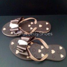 Ivynyx Jelly Shoes Flat Ribbon Brown Sandal Jelly Shoes Sendal Jelly - Brown