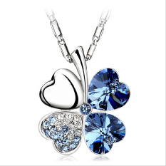 J003 New 4 Leaf Four Leaf Clover Crystal Special Heart Love Pendant Chain Necklace Dark Blue - Intl