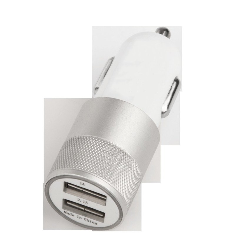 JANGO 12V 2.1A Half Aluminum Dual Port USB Car Charger Metal Ring Car Cigarette Lighter Charging Head For Iphone/Ipad/Samsung Tab (Silver) (Intl)