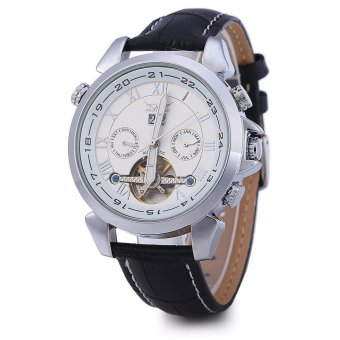 JARAGAR Men Tourbillon Automatic Mechanical Watch Leather Strap Date Week Month