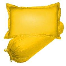 Jaxine Set Sarung Bantal Guling KingKoil Polos Kuning