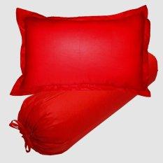 Jaxine Set Sarung Bantal Guling KingKoil Polos Merah