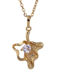 JIANGYUYAN 18K Yellow Gold Plated White Rhinestone Irregular Figure Pendant Necklace For Women (Intl)