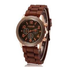 JIANGYUYAN Casual Watch Geneva Unisex Quartz Watch Men Women Analog Wristwatches Fashion Sports Watches Rose Gold Silicone Watches Dropship (Coffee) (Intl)