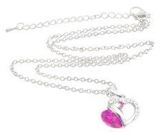 JIANGYUYAN Crystal Double Love Heart Pendant Necklace (18 Iinch Long, Roseo) (Intl)