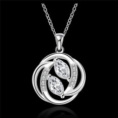 JIANGYUYAN Fashion Necklaces For Women Silver Plated Crystal Round Pendant Necklace 2015 New Arrival (Silver) (Intl)