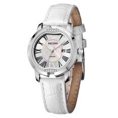 JIANGYUYAN MEGIR Brand New Luxury Calender Women Watches Dress Leather Sapphire Quartz Wirstwatch 3ATM Trendy High Quality Shell Clock Hour (White Silver White) (Intl)