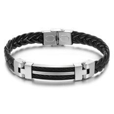 Jiayiqi Woven Leather Silicone Silver Titanium Men Bangle Bracelet- Intl - Intl
